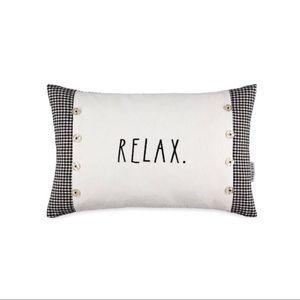 "NWT RAE DUNN ""relax"" button decorative pillow"